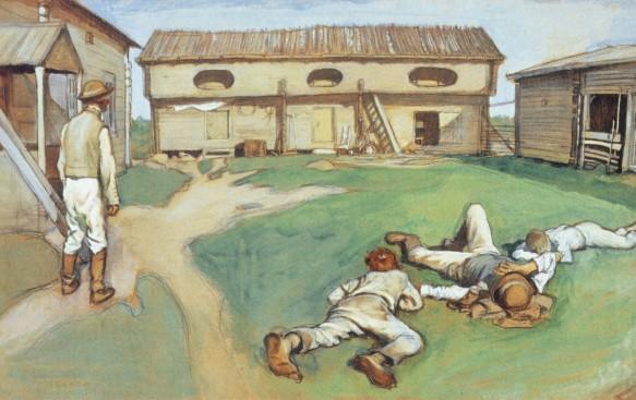 Rengit viettävät pihalla hyvin ansaittua lepohetkeään Eero Järnfeltin maalauksessa.